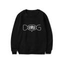 Creative Letter DOG MOM Print Basic Round Neck Long Sleeve Pullover Sweatshirt