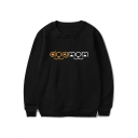 Funny Popular Letter DOG MOM Printed Round Neck Long Sleeve Pullover Sweatshirt