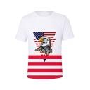 Independence Day Flag Eagle Pattern Basic Round Neck Short Sleeve White Tee