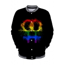 Pride Month Cool Colorful Painting Rib STand Collar Long Sleeve Button Down Baseball Jacket