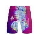 New Stylish Vaporwave Cool 3D Printed Drawstring Waist Loose Fit Athletic Shorts
