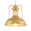 Domed Shade Kitchen Pendant Lighting Metal 1 Light Industrial Suspension Light in Gold