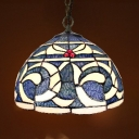 Stained Glass Kapok Pendant Light Dining Table 1 Light Vintage Style Ceiling Pendant in Blue