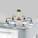 Candy Colored Cone Chandelier with Deer 6/8 Lights Macaron Loft Wood Pendant Lamp for Living Room