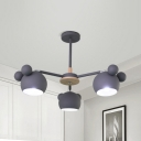 Metal Orb Shade Pendant Light Kid Bedroom 3 Lights Nordic Style Chandelier in Gray/Green/White