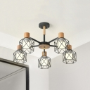 5/6/8 Heads Cube Cage Chandelier Industrial Wood Pendant Lamp in Gray/White for Dining Room