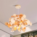 Wood/Multi-Color Small Dot Pendant Light 5 Lights Creative Wood Hanging Light for Nursing Room