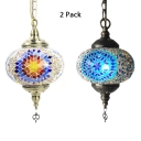 Blue/Red Spherical Hanging Lamp 1/2 Pack 1 Light Turkish Glass Pendant Light for Restaurant(Random Color Delivery)