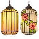 Restaurant Lantern Pendant Light Glass 1 Light Asian Style Beige Suspension Light
