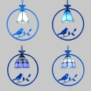 Study Room Conical/Domed Hanging Light Metal 1 Light Tiffany Style Blue Ceiling Pendant with Bird