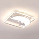 Eye-Caring Dolphin Ceiling Light Acrylic Stepless Dimming/Third Gear LED Flush Mount Light for Kid Bedroom