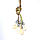 Multi-Color Cord Pendant Light 5 Open Bulbs Industrial Clear Glass Ceiling Pendant for Cafe