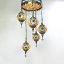 Art Deco Multi-Color Chandelier Lantern Shape 5 Heads Glass Suspension Light for Bar Cafe