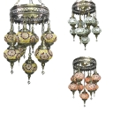 Wrought Iron Round Chandelier Villa 9 Lights Turkish Mosaic Pendant Lamp in Coffee/Gold/Off-White