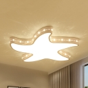 Etched Starfish LED Flush Light Contemporary Metal 4 Modes Optional Ceiling Mount Light for Kid Bedroom