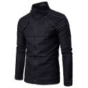 Mens New Stylish Solid Color Contrast Stitching Long Sleeve Stand Collar Zip Up Black Denim Jacket