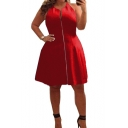 Women's Plus Size Summer Fashion Zipper Front Round Neck Sleeveless Mini A-Line Dress
