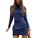 Womens Hot Trendy Solid Color High Neck Long Sleeve Simple Plain Mini Sheath Dress