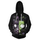 Cute Cartoon Pattern Letter DOOMIE Back Long Sleeve Black Zip Up Hoodie