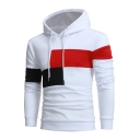 Mens Chic Stylish Color Block Long Sleeve Slim Fitted Hoodie