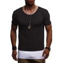 Men's Summer Trendy Simple Plain Unique Patchwork Short Sleeve Round Neck Slim Fit T-Shirt