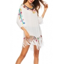 Hot Popular Crochet V-Neck Sexy Hollow Out Tassel Hem Mini Beach Dress Bikini Cover Up