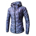 Guys Outdoor Cool Fashion Camo Pattern Long Sleeve Zipper Front Fitted Lightweight Jacket
