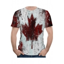 Summer Chic Red Leaf Pattern Round Neck Short Sleeve Sport Loose T-Shirt