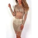 Womens Sexy Sheer Mesh Hot Drilling Long Sleeve Round Neck Gold Mini Bodycon Night Club Dress