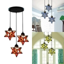 Creative Handmade Star Pendant Light 3 Lights Glass Linear/Round Canopy Ceiling Light for Bedroom