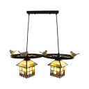 Rustic Style Multi-Color Pendant Light with Bird & Wheel 2 Lights Glass Island Lamp for Cafe