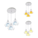 Modern Sphere Ceiling Pendant with Diamond Cage Metal 3 Lights Blue/Orange/Yellow Hanging Light for Shop