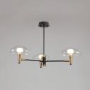 Simple Style Jellyfish Shade Chandelier 3 Lights Metal Pendant Light in Black for Bathroom