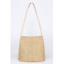Summer Fashion Plain Straw Beach Bag Tote Bucket Bag for Women 27*27 CM