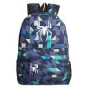 Popular Fashion Spider Geometric Printed Blue Sports Bag School Backpack with Zipper 31*14*45 CM