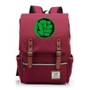 Fashion Large Capacity Green Hand Printed Belt Buckle Laptop Bag Travel School Backpack 29*13.5*43 CM