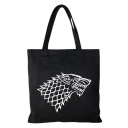 Fashion Cosplay Wolf Printed Black Canvas Shoulder Bag Tote Shopper Bag 33*35 CM