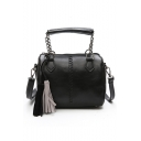 Fashion Solid Color Weaving Detail Tassel Embellishment PU Leather Crossbody Satchel Bag 19*12*15 CM