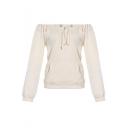Stylish Simple Plain Drawstring Off the Shoulder Long Sleeve Pullover Sweatshirt