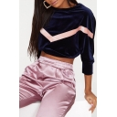 Fashion Chevron Stripe Pattern Round Neck Long Sleeve Cropped Velvet Sweatshirt