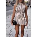Womens Trendy Geometric Pattern Mock Neck Sleeveless Mini Bodycon Dress