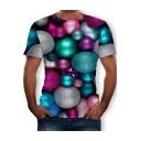 Hot Popular Colorful Ball 3D Print Round Neck Short Sleeve T-Shirt