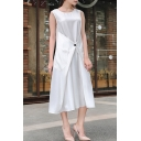 Womens Simple Plain Round Neck Sleeveless Button Embellished Gathered Waist Maxi A-Line Dress
