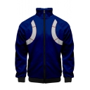 Fashion Cartoon Comic Cosplay Costume Blue Stand Collar Zip Up Unisex Jacket