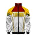 Popular Comic Cosplay Costume 3D Colorblock Stand Collar Zip Up White and Yellow Jacket
