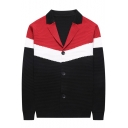 Men's Fashion Notched Lapel Collar Long Sleeve Colorblocked Button Down Fitted Cardigan
