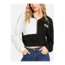 Girls Cool Simple Letter SON Pattern Half-Zip Lapel Collar Long Sleeve Black and White Cropped Sweatshirt