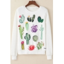 Girls Cute Cactus Pattern Round Neck Long Sleeve Basic White Casual Sweatshirt