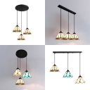Rustic Linear/Round Canopy Pendant Light Stained Glass 3 Lights Ceiling Lamp for Living Room
