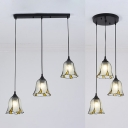 Bell Shade Bedroom Hanging Light with Linear/Round Canopy Glass 3 Lights Traditional Ceiling Lamp